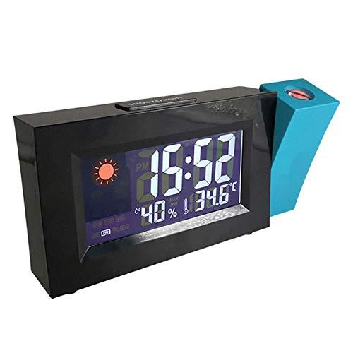 ZHHZ Digitaler Wecker, Projektionswecker Temperatur Luftfeuchtigkeit USB Digitaler Wecker für Schlafzimmer, Bett, Schreibtisch, Büro