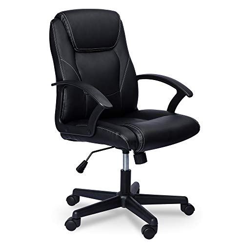 Ergonomic Leather Office Chair - Computer Desk Chairs,Modern Executive Office Chair with Lumbar Support,Rolling Swivel PU Leather Task Chair,Black