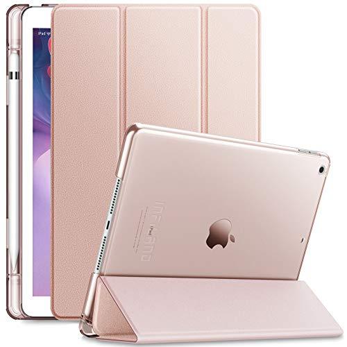 INFILAND Hülle für iPad 10.2 2019 mit Pencil Halter,Superleicht Transluzent Smart Schutzhülle Case mkompatibel mit Auto Schlaf/Wach Funktion für iPad 10.2 Inch 2019 (7. Generation),Rosa Goldene