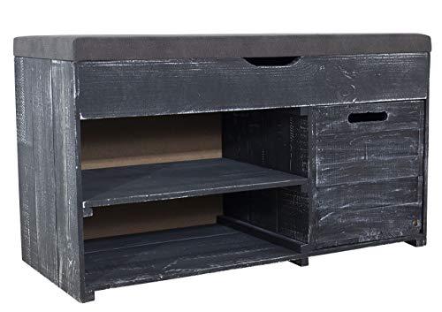 Kontorei 1x Angesagte, Schwarze Sitzbank Shabby, mit Sitzpolster & verschiedenen Stauräumen, schön im Schlafzimmer, neu, 90x39x52cm