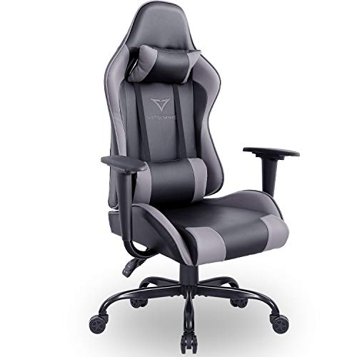 Vitesse Gaming Chair (Sillas Gaming) Ergonomic Computer Desk Chair Racing Style Comfortable Chair High Back Swivel Executive Leather Chair with Lumbar Support and Headrest (Grey)