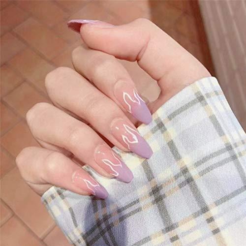 24PCS Press on False Nails Flame Coffin Square Acrylic Fake Nails Fire Glue On Fingersnails for Women Girls DIY Manicure Salon