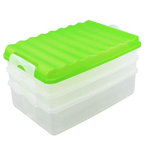 COM-FOUR® 4-delige vleesset, vierkant, met deksel, doorzichtig bakje, groen deksel, ca. 25 x 15,5 x 14 cm (1 set/groen)