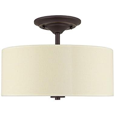 Kira Home Addison 13  2-Light Semi-Flush Mount Ceiling Light Fixture with Off-White Fabric Drum Shade, Bronze Finish