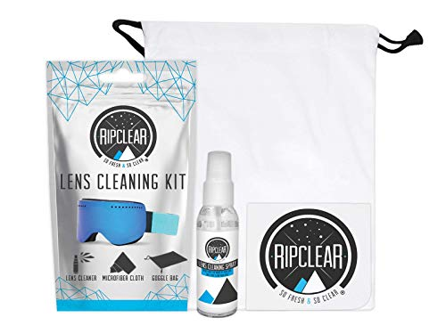 Ripclear Premium Eyeglass Cleaning Kit - Perfect For Prescription Eye Glasses, Sunglasses, Goggles & More. Includes 100% Biodegradable Glass Cleaner, Thick Microfiber Cloth & Drawstring Eyeglass Case