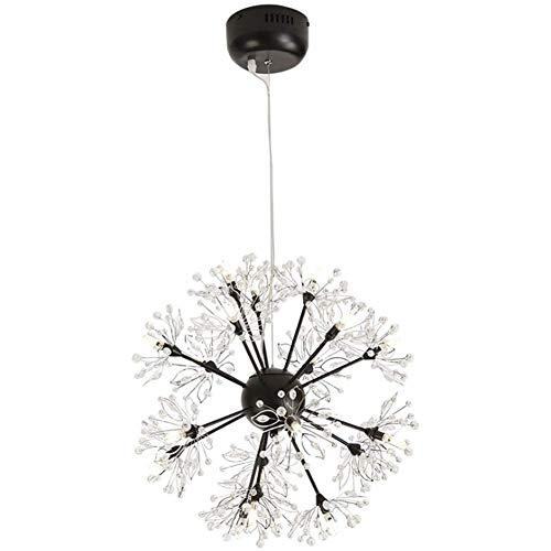Lampadario nero Fiore di tarassaco 18 LED Lampadario a luce bianca calda Lampadario moderno a soffitto in cristallo di ferro caldo