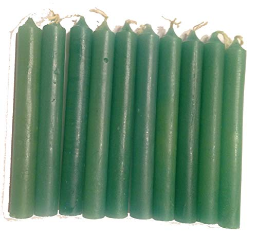 Pine Pentagram Pack of 20 Wicca Magic Ritual Small Mini Spell Chime Candles for Pagan and Witchcraft Altars (Green)
