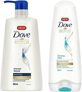 Dove Intense Repair Shampoo, 650ml & Dove Dryness Care Conditioner, 180ml