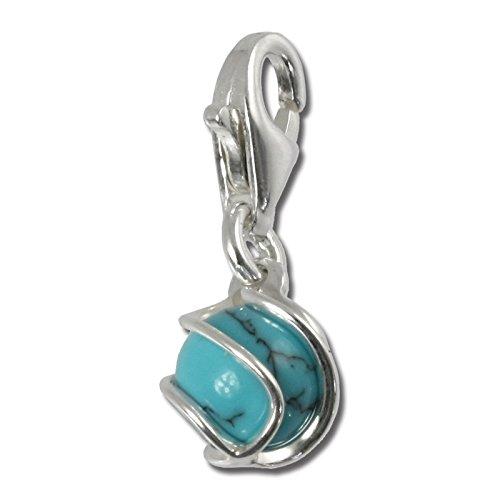 SilberDream Charm 925 Echt Silber Armband Anhänger türkis Kugel FC250T
