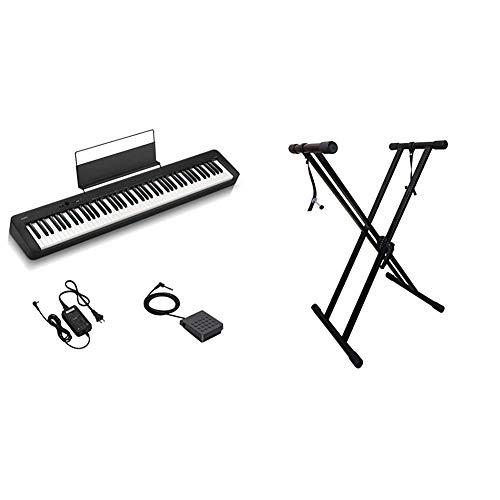 Casio CDP-S100 Pianoforte Digitale 88 Tasti Pesati & RockJam Xfinity Doublebraced Pre Assemblato Basamento della Tastiera Altamente Registrabile con Cinghie di Bloccaggio