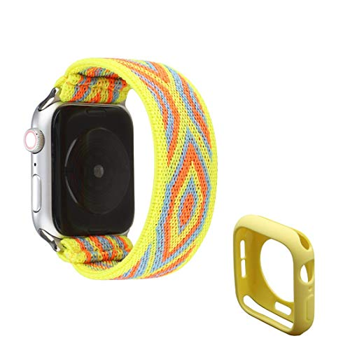 Elastic Watch Bands Strap Stretchy Loop Nylon Wristband Bracelet Replacement Compatible with 40mm Apple Watch SE/Series 6/5/4, Yellow Bohemia