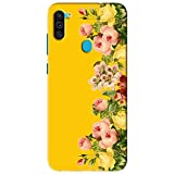 NDCOM Yellow Flowers Printed Hard Mobile Back Cover Case for Samsung Galaxy M11