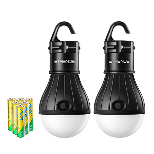 E-TRENDS 2 Pack/4 Pack Compact LED Lantern Tent Camp Light Bulb for Camping Hiking Fishing Emergency Lights, Battery Powered Portable Lamp (Yellow, 4 Count)