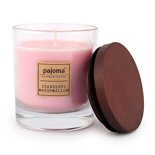 Unbekannt Pajoma Duftkerze Cranberry Marshmallow, 180 g, im Glas mit Holzdeckel, NEU Premium Edition