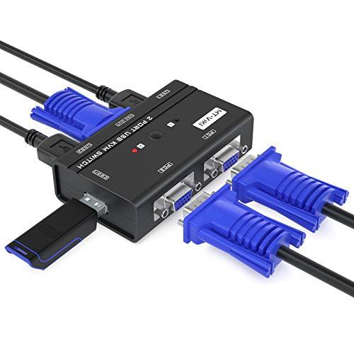 MT-ViKI Conmutador KVM USB VGA 2 puertos con 3 concentradores USB y cables, conmutador 260KL 1080P dos ordenadores comparten 1 juego de...