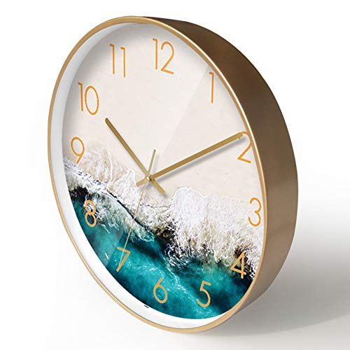 Vintage Retro Klok van de Muur, Met Iron Hands 3D Color Gold Large Wall Clock, Grote Vintage Metal Romeinse cijfer Antique Skeleton Opknoping Wall Clock,A,14 inches