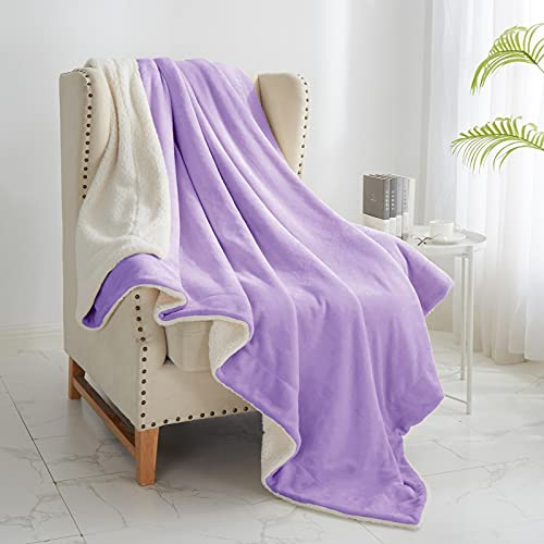 "Walensee Sherpa Fleece Blanket (King Size 108""x90"" Lavender) Plush Throw Fuzzy Super Soft Reversible Microfiber Flannel Blankets for Couch, Bed, Sofa Ultra Luxurious Warm and Cozy for All Seasons"