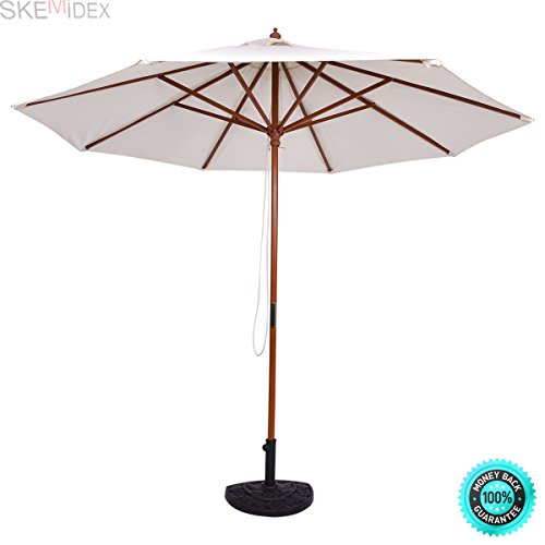 COLIBROX--- Adjustable 9FT Wooden Patio Umbrella Wood Pole Outdoor Garden Sun Shade Beige Cantilever Patio Umbrellas Offset Patio Umbrella Patio Umbrellas Patio Umbrellas costco Sears