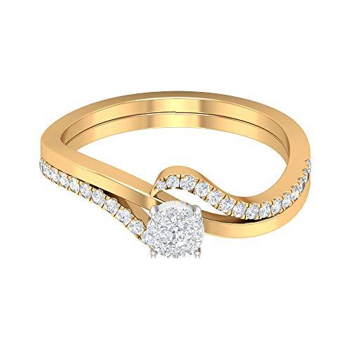 1/2 CT HI-SI Diamond Promise Rings for Women, 14K Yellow Gold, Size:UK R1/2