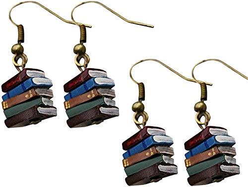 AAQQ Colgante de libro, multicolor, para mujer, diseño de libro, multicolor, con gancho, para joyería de niña, ligero, multicolor, para libros y bibliotecas de libros de regalo vintage. 2 pares