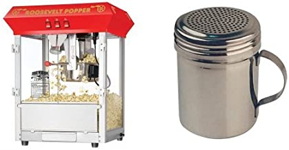Great Northern Popcorn 6010 Roosevelt Top Antique Style Popcorn Popper Machine, 8-Ounce and Winware Stainless Steel Dredges 10-Ounce with Handle Bundle