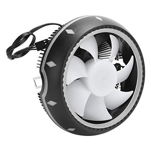 Enfriador de CPU, 4.7 X 4.7 X 2.6In Ventilador de radiador de enfriamiento silencioso y eficiente Efectos de iluminación RGB Enfriador de host de escritorio de aluminio puro para Intel LGA775 / 1150