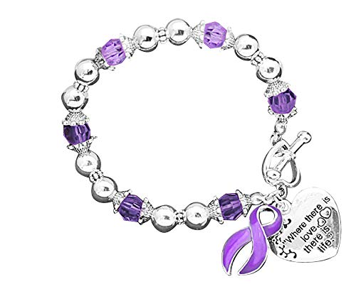 Fundraising For A Cause Lupus Awareness Purple Ribbon Bracelet - Where There is Love (1 Bracelet - Retail)