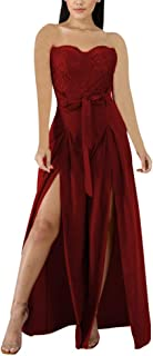 Women's Strapless Wide Leg Jumpsuits - Elegant Lace Tube Top High Split Outfits with Belt