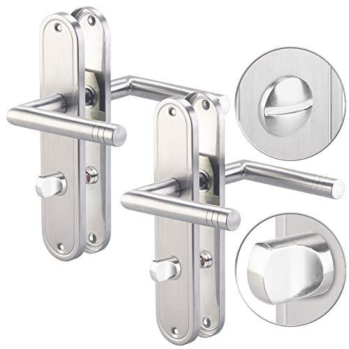 AGT Türbeschlag Badezimmer: 2er-Set Edelstahl-Türbeschlag-Sets für Bad & WC, je 2 Klinken (Türbeschlag, modern)
