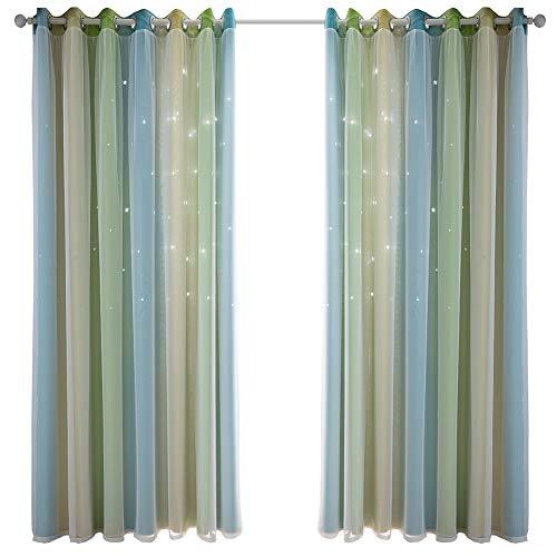 WERTAZ Vorhänge Sterne Verdunkelungsvorhänge Double Layer Hollow Out Streifen Fenstervorhänge Verdunkelungsvorhänge für Kinderzimmer, Wohnzimmer