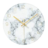 Fenteer ガラスマーブリングサイレント壁時計リビングルームのインテリア、12インチ現代大理石非カチカチデコレーション美的ベッドルームやオフィス (電池式) - 青、白