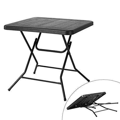 Femor Mesa plegable pequeña (80 x 80 x 74 cm), mesa de balcón con patas de acero, resistente al agua, mesa de jardín de HDPE, vetas de madera, para bodas, fiestas, cocina, salón o balcón