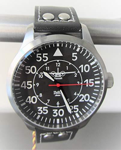 IMC Fliegeruhr C-160 Transall Silber Männer Herren Armbanduhr Uhr Lederarmband Gehäuse aus Edelstahl