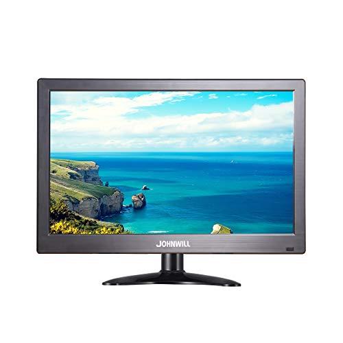 Tragbarer 12-Zoll-Monitor 1366x768 IPS HD-Monitor mit USB VGA HDMI AV BNC, Kunststoff schwarz,JOHNWILL