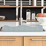 Blue Ginkgo Sink Splash Guard - Premium Silicone Water Splash Guard for Kitchen, Bathroom and Island Sinks - Made in Korea - Food Grade Platinum Silicone (19.2 L x 3.1 H x 1.9 W Inches) - Grey