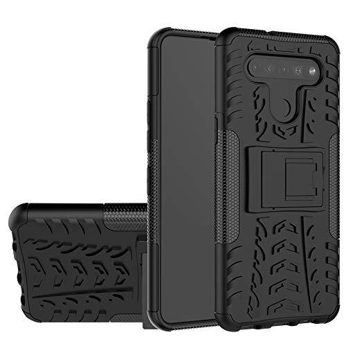 Labanem Cover con LG K51S, Kickstand Dual Layer Ibrida Rigida Morbido Armatura Resistente agli Urti con Supporto e asportabile di Protezione per LG K51S /LG K41S - Nero