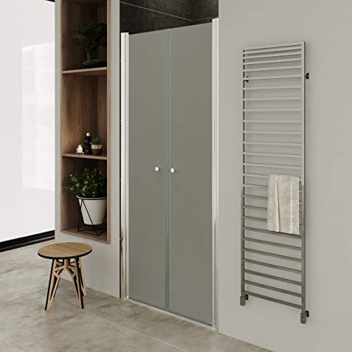 Moments of Glass Mampara de ducha 112-116 cm altura: 195 cm con puerta doble abatible 6mm Vidrio satinado de seguridad - DTF