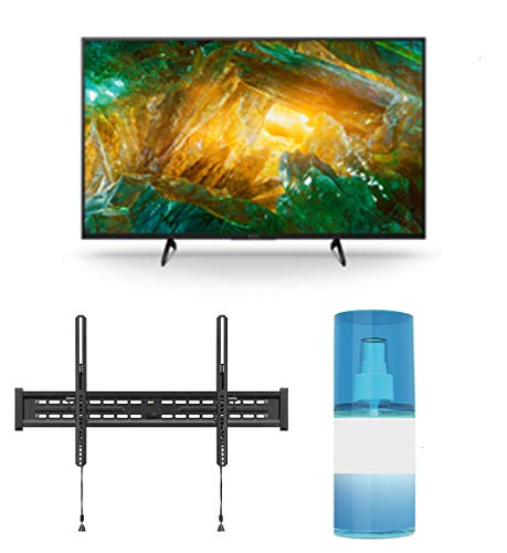 Sony XBR-49X800H 49' 4K Ultra High Definition HDR LED Android Smart TV with a Walts TV Large/Extra Large Tilt Mount for 43'-90' Compatible TV's and Walts HDTV Screen Cleaner Kit (2020)