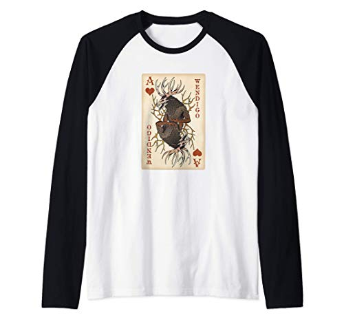 Wendigo - Original Cryptid Playing Card Tarot Ace of Hearts Camiseta Manga...