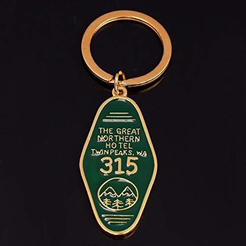 ZYLL Programa de televisión Twin Peaks Llavero de Metal Esmalte Verde The Great Northern Hotel Room # 315 llaveros Moda Mujeres Hombres joyería Llavero