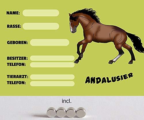 Metalen bord 20 x 30 cm gebogen, incl. 4 magneten boksborden dozen Andalusier stal paard decoratie geschenk bord