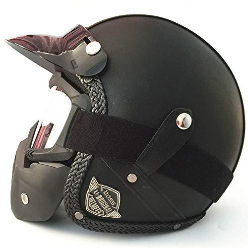 LOLIVEVE Handgemaakte Vier seizoenen Persoonlijkheid Retro Harley Helm Motorfiets Elektrische Locomotief 3/4 Herfst Winter Lederen Helm Halve Helm