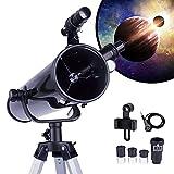 Telescopio para Principiantes y Niños - Apertura de 76 mm 700mm f/9 Reflector Newtoniano - Ocular*3, 1.5X Erigiendo, Lente 2X Bralow Trípode, Adaptador de Teléfono, Control de Obturador - Negro