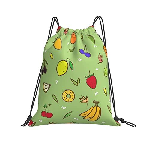 Mezcla linda frutas sin fisuras patrón de fondo con cordón mochila bolsa de cadena resistente al agua saco de agua, regalos de cincha