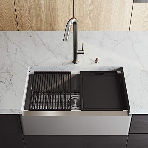 Vigo Farmhouse Apron Front Stainless Steel 33″ Single Bowl Kitchen Sink