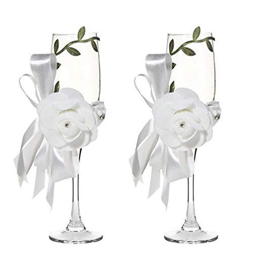 Amosfun Hochzeit Champagnerglas Westlichen Stil Blatt Rose Blume Wein Tasse Hochzeit Toasten Gläser für Braut Bräutigam (Weiß)