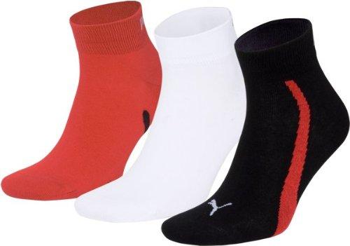 Puma Unisex Lifestyle Quarters 3P Calcetines unisex  3 pares  Multicolor (852 - Black/White/Red)  43-46 EU