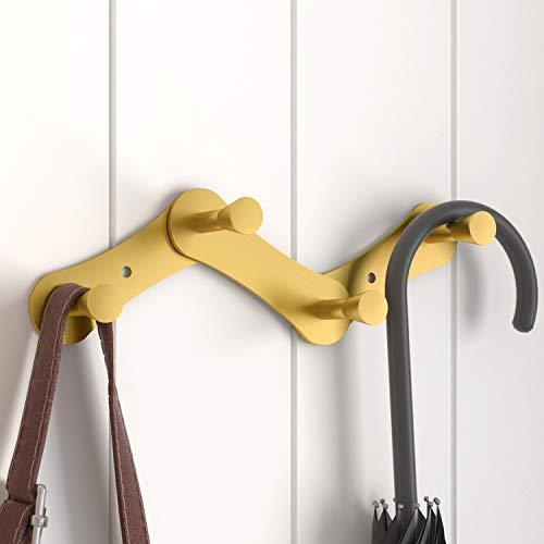 Perchero de pared plegable telescópico, diseño curvado de acero inoxidable, hermoso y duradero para interiores, baños (, Dorado-1, gold-4