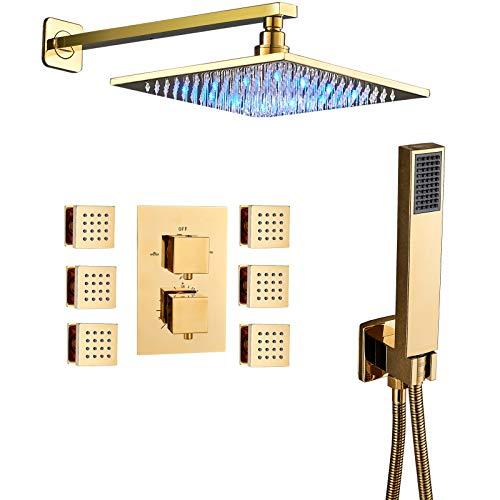 "Senlesen Thermostatic 3-way Mixer Shower Bathroom Shower Set 10"" LED Shower Head Rainfall 6 Massage Jets Spray Body Shower Set Gold Polished"