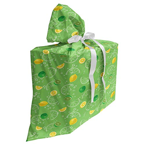 ABAKUHAUS Limonade Cadeautas voor Baby Shower Feestje, Citroen en Kalk Beverage, Herbruikbare Stoffen Tas met 3 Linten, 70 cm x 80 cm, Groen en Geel